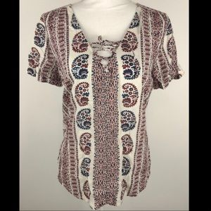 Lucky Brand Boho Peasant Paisley Top, Size Medium